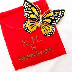 KJL Kenneth J Lane Monarch Butterfly Pin Brooch